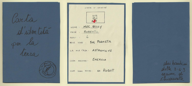 La carta d'identità di MecWilly realizzata dai bambini dell'asilo di Chiaravalle (AN)